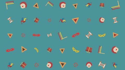 Purim holiday flat design animation background with traditional symbols. loop 애니메이션
