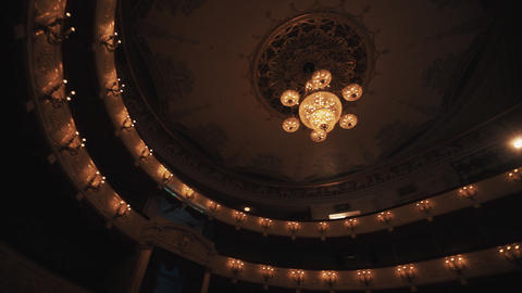 People dancing party at empty luxurious concert hall dark scene Footage