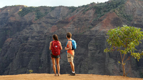 Hiking couple looking at view during hike in Waimea Canyon Live Action