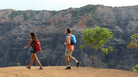 Hiking on Hawaii- couple on hike in Waimea Canyon Live Action