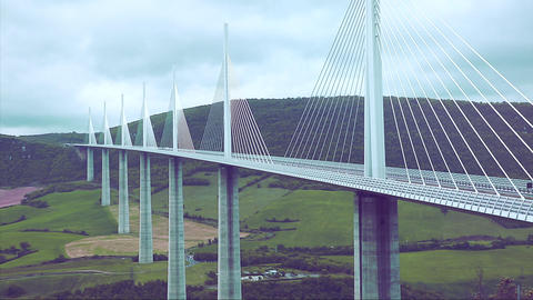 High Cable-Stayed Bridge Footage
