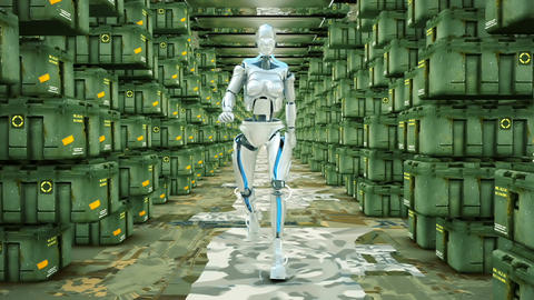 Futuristic humanoid robot walking on a military warehouse. Loopable 애니메이션