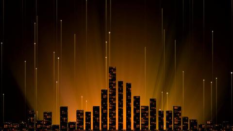 Golden Digital City Night Background Animation