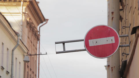 Round road sign, which forbids drive in its direction in the street Live Action