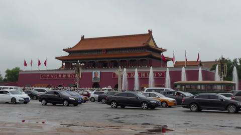 Traffic And Cars In Tiananmen Square Beijing China Asia 영상물