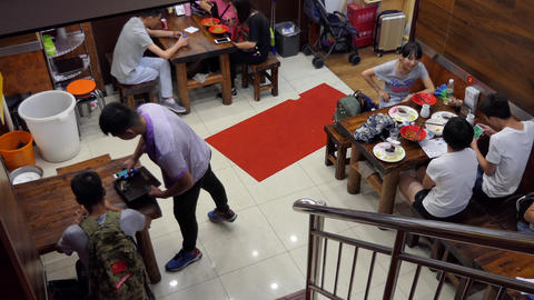Clients Customers Eating Food At Chinese Restaurant In Beijing China Footage