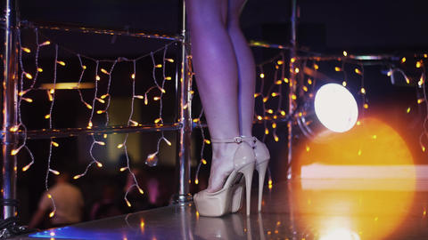 Sexy go go girls in bikini dance on stand in nightclub. Spotlights. Wave booty Footage