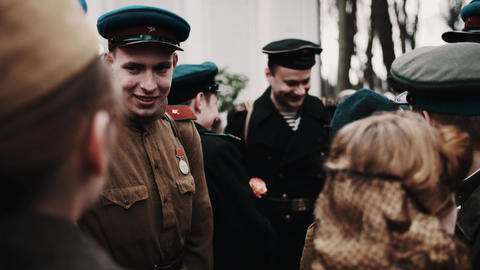 Group of men in old soviet soldier and marine uniform at... Stock Video Footage