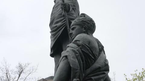 Details of the Statue at Bismarck Nationaldenkmal Memorial in the Berlin Footage