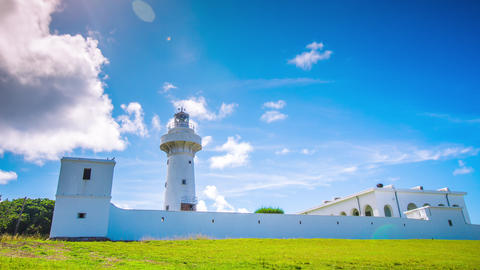 Time Lapse - Beautiful Clouds Moving Over Light House in Kenting Footage