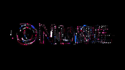 Letters are collected in text ONLINE, then scattered into strips. Bright colors. Animation