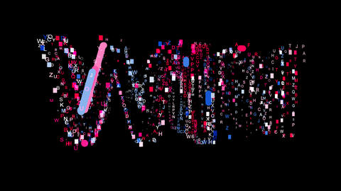 Letters are collected in text WIN, then scattered into strips. Bright colors. Animation