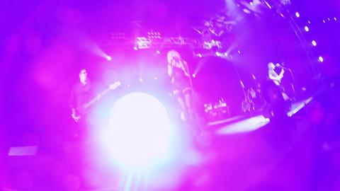 Rock female singer in mini dress, rock shoes, stockings... Stock Video Footage