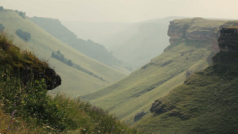 Panorama of summer landscape in mountains covered by greenery. Nature. Nobody Live Action