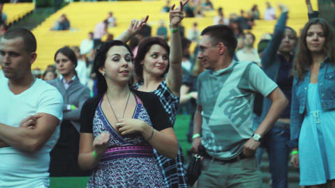 MOSCOW, RUSSIA - AUGUST 23, 2011: People dancing at summer live Footage