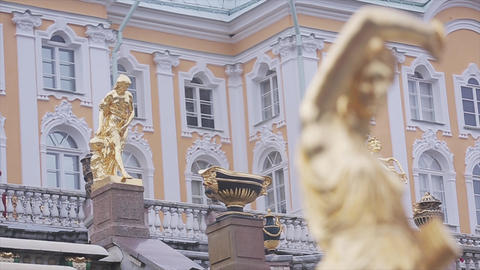 Golden female statues of Grand Cascade fountain in Peterhof museum Reserve Footage