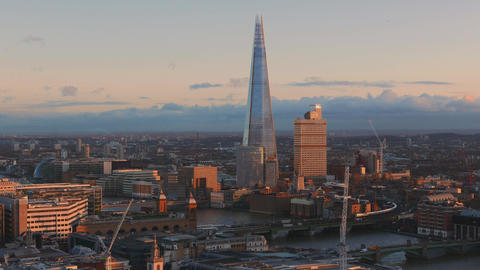 Famous Shard building at River Thames London Live Action