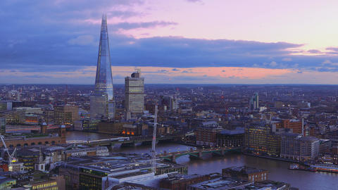 The River Thames in London - aerial view in the evening Live Action