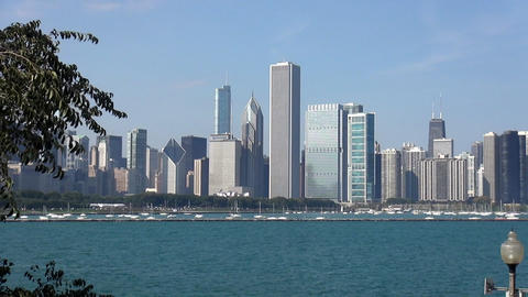 Great view on Chicago Skyline - CHICAGO, ILLINOIS/USA Live Action