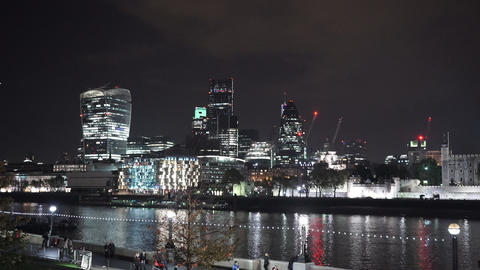 Impressive skyline of the City of London by night London city lights - LONDON, E Live Action