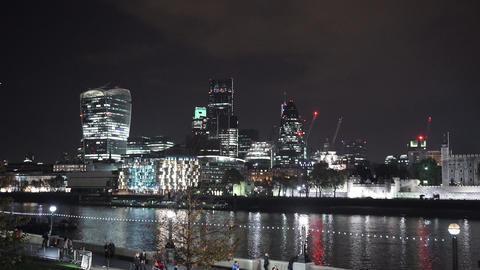 Impressive skyline of the City of London by night London city lights - LONDON, E Footage