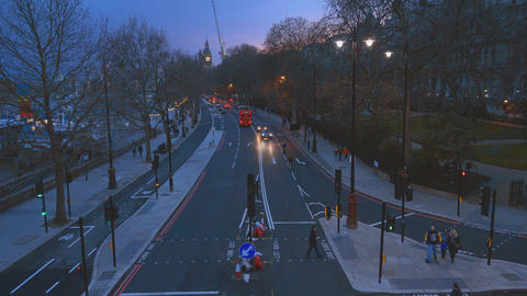 London street view from Embankment in the evening Live Action