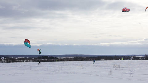 Winter snowkiting on the field Footage