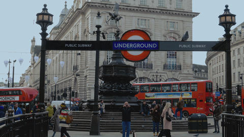 London Underground Entrance and subway at Piccadilly Circus January 16 2016 Live Action