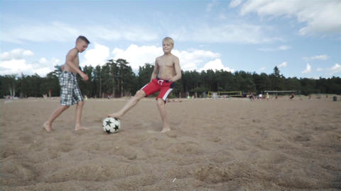 Playing Football Children On Beach Footage