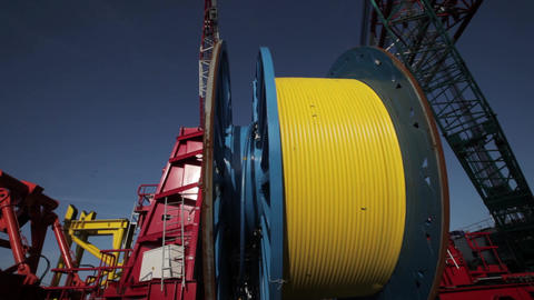 Laying of underwater optical cable on sea bottom Footage