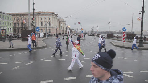 SAINT PETERSBURG, RUSSIA - OCTOBER 27, 2013: Relay race Sochi Olympic flame in Footage