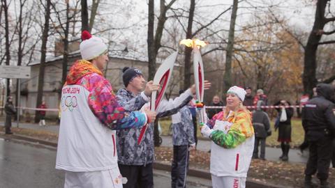 SAINT PETERSBURG, RUSSIA - OCTOBER 27, 2013: Relay race Olympic Footage