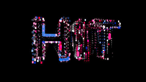 Letters are collected in text HIT, then scattered into strips. Bright colors Animation