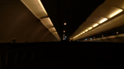 interior of an airliner early in the morning Live Action