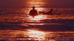 Silhouettes of Surfers Waiting for a Wave Footage