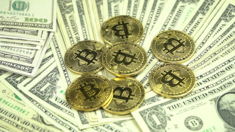 gold bitcoin and dollar stacks Footage