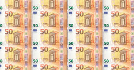 Series of banknotes of fifty euro rolling on print, seamless looping Animation