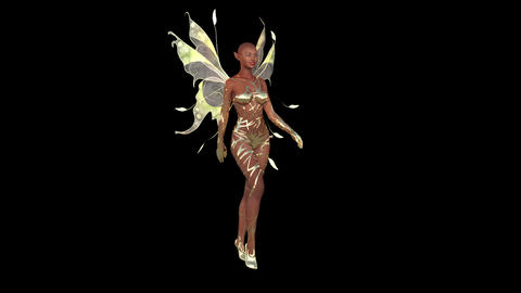 Fashion Beautiful Girl with Fairy Wings is Walking Image