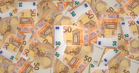 Fifty euros banknotes, cash money Animation