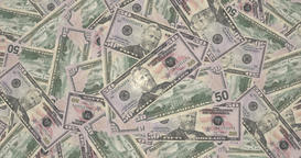 Mountain of bills of fifty dollars americans, cash money Animation
