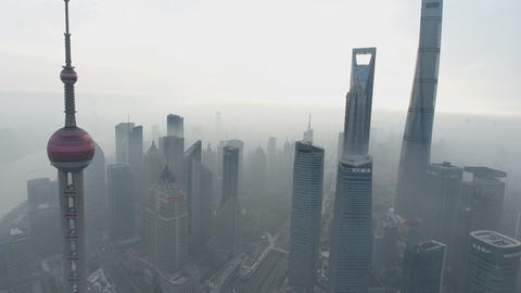 China, Shanghai city panorama from the air (Drone footage) Footage