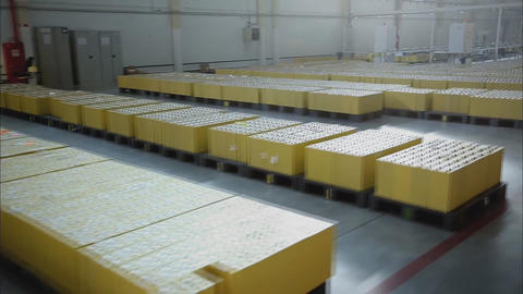 Warehouse in the factory of storage batteries Stock Video Footage