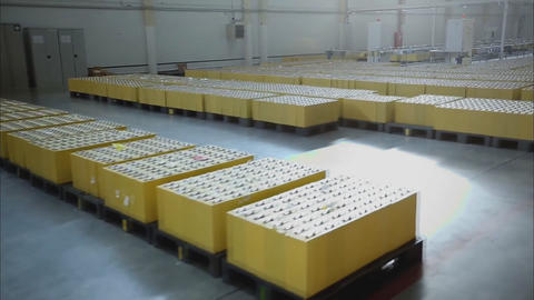 Warehouse in the factory of storage batteries Footage