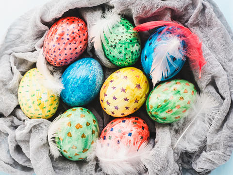 Easter eggs painted with bright colors Photo