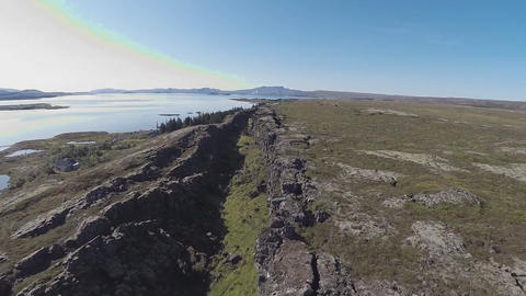 Aerial view of the big fault in Iceland (Tingvellir National Park) Footage