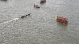 Chaotic Boats On The Chaophraya River In Bangkok Footage