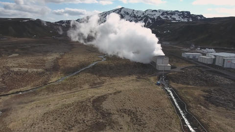 Geothermal power plant in Iceland (Drone footage) Footage