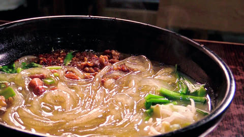 having asian cuisine of chili and sour vermicelli Footage