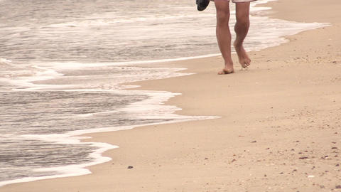 walking on the beach Footage