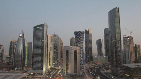 Qatar, view of the city center (time-lapse) Footage
